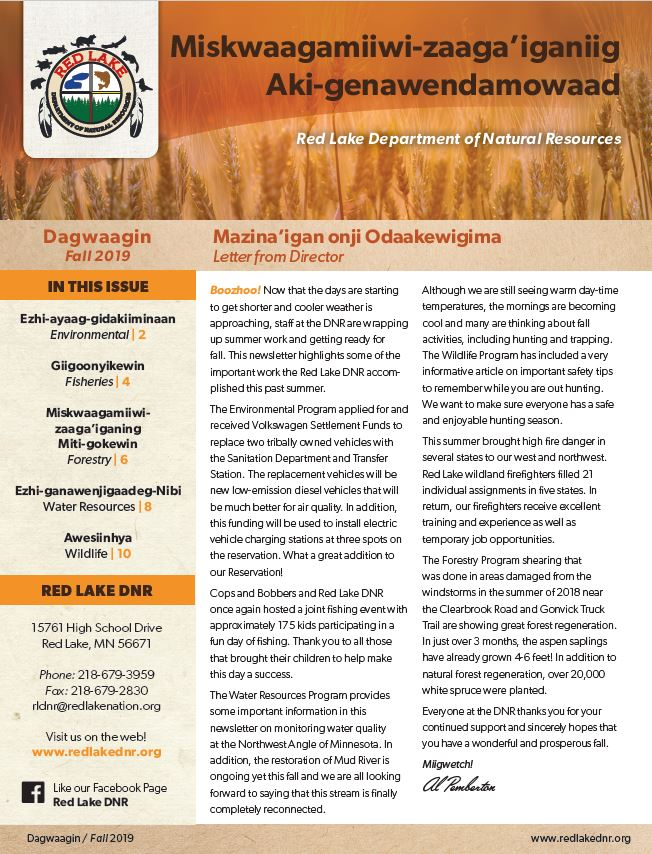Red Lake DNR - 2019 Fall Newsletter